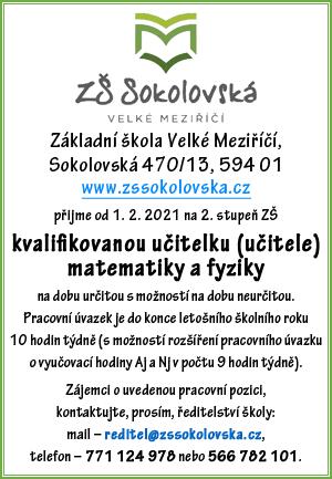 ZŠ Sokolovská: Hledáme učitelku/učitele