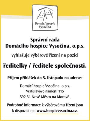 Domácí hospic Vysočina hledá zaměstnance